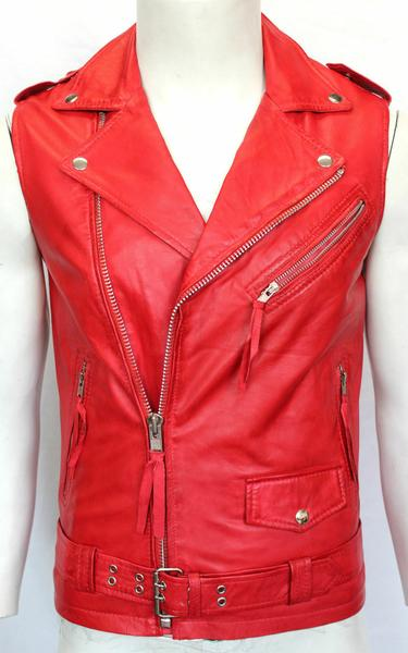 Brando Biker Style Men's RED Classic Sleeve Less Punk Soft Leather Jacket