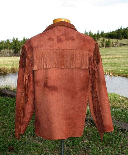 Men's Native American Suede Leather Pullover Shirt with Fringe