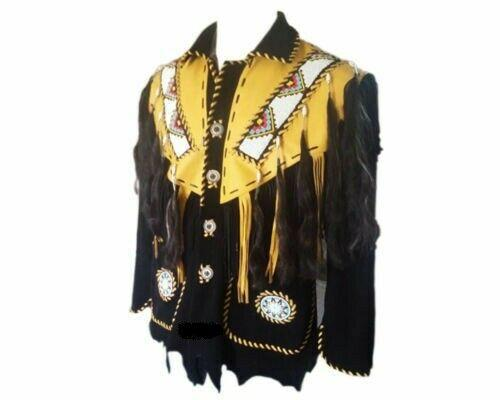 Men's Native American Western Wear Black/Yellow suede Jacket Fringes Beads Hairs