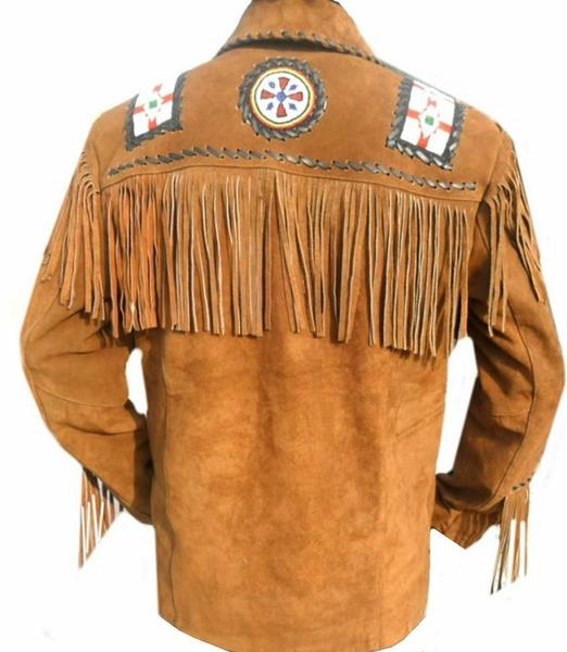 Men's Native American Eagle Beads Suede Leather Jacket Fringes Bones