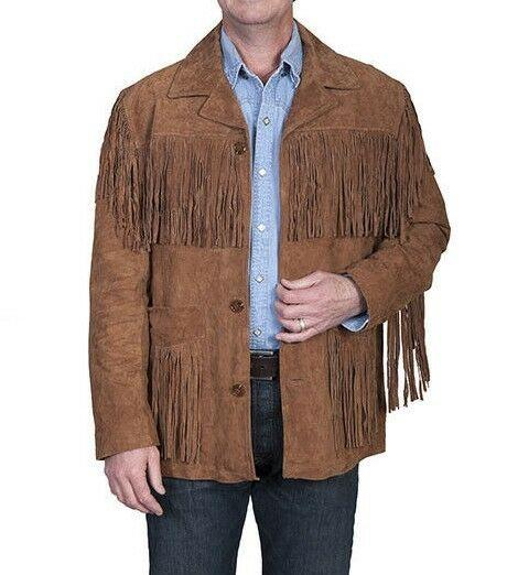 Men's Native American Wear Brown Suede Leather Jacket Fringes