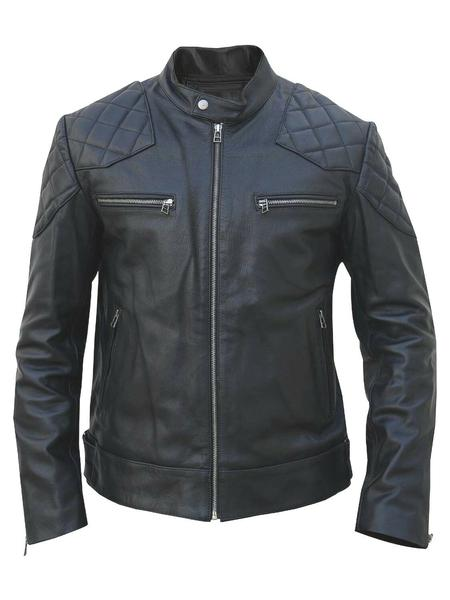 MEN'S NEW David Beckham BLACK REAL COW/SHEEP LEATHER JACKET VINTAGE XS-4XL