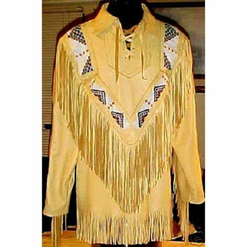 Men's Western wear pullover Cow Leather shirt Fringed and beads