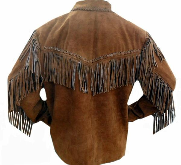Mens Leather Western wear Brown Suede Leather Jacket Fringe