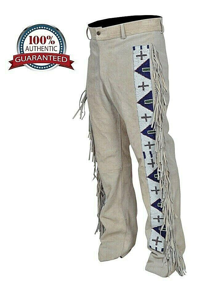 Men's Native American Genuine Suede Leather Fringe Pants Sioux Beads