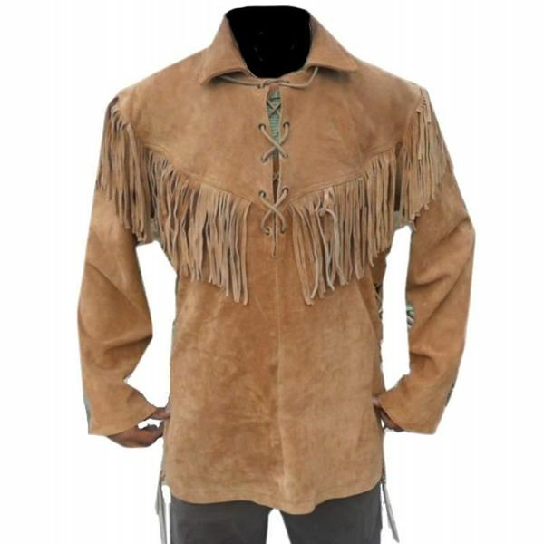 Men Native American Mountain Man Goat Suede Leather Shirt with Fringes