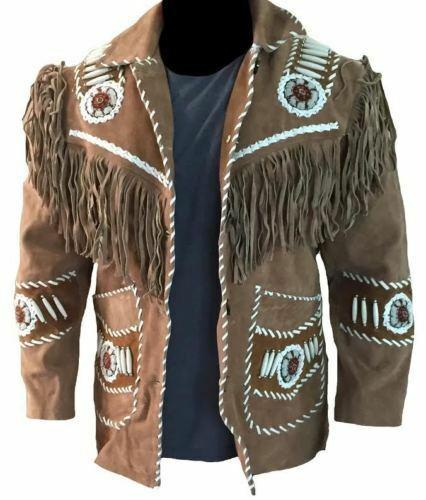 Men's Western wear Suede Leather Jacket Fringes bones beads