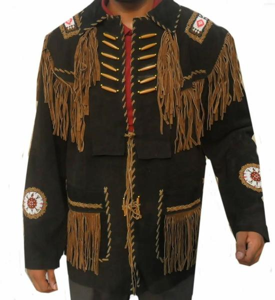Men's Western wear Black/Brown Suede Leather Jacket Fringes and beads