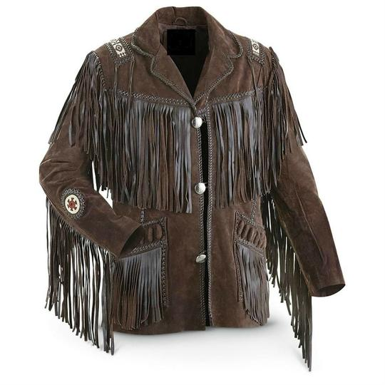 Mens New Beads Fringed Cow suede Leather Jacket Western wear all size