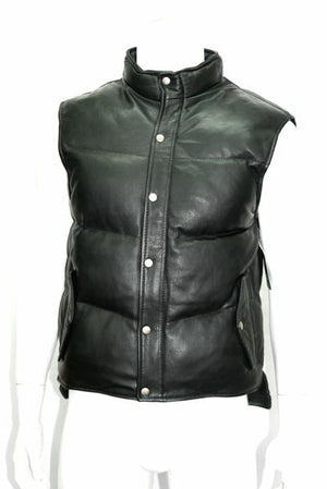 Open image in slideshow, Men's Puffer Body Warmer Leather Waistcoat Gilet Sleeveless Casual Jacket