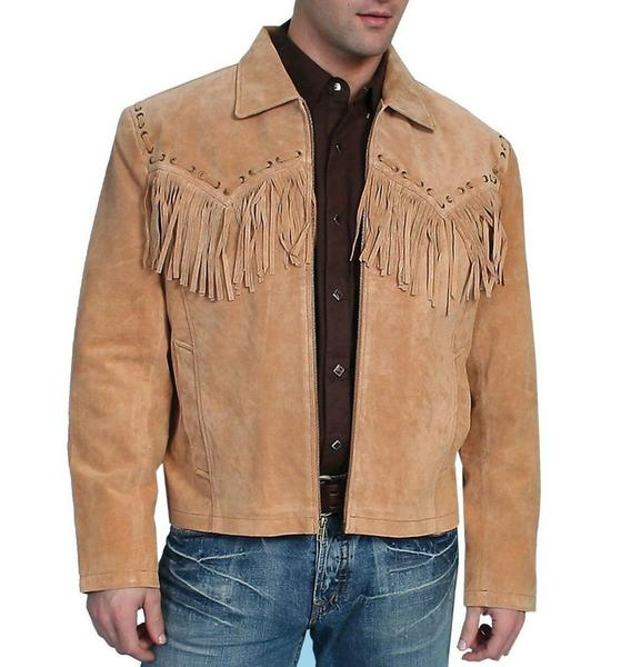 Mens New Native American Western Light Brown Suede Leather Jacket Fringe