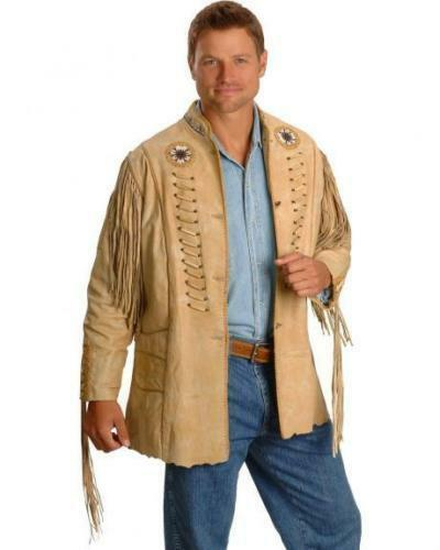 Mens New Western wear Beads Fringed bones Cow Leather Jacket All size