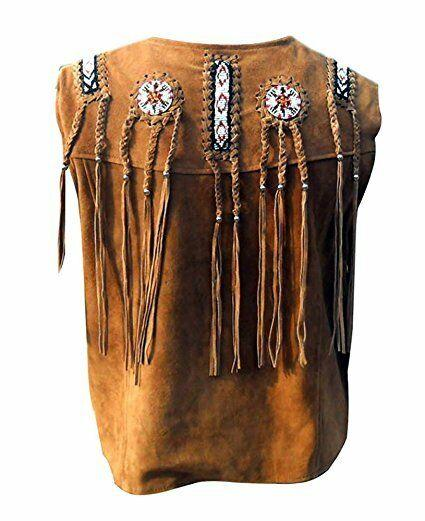 Men's Western wear cowhide Suede Leather vest with Fringe and bone beads
