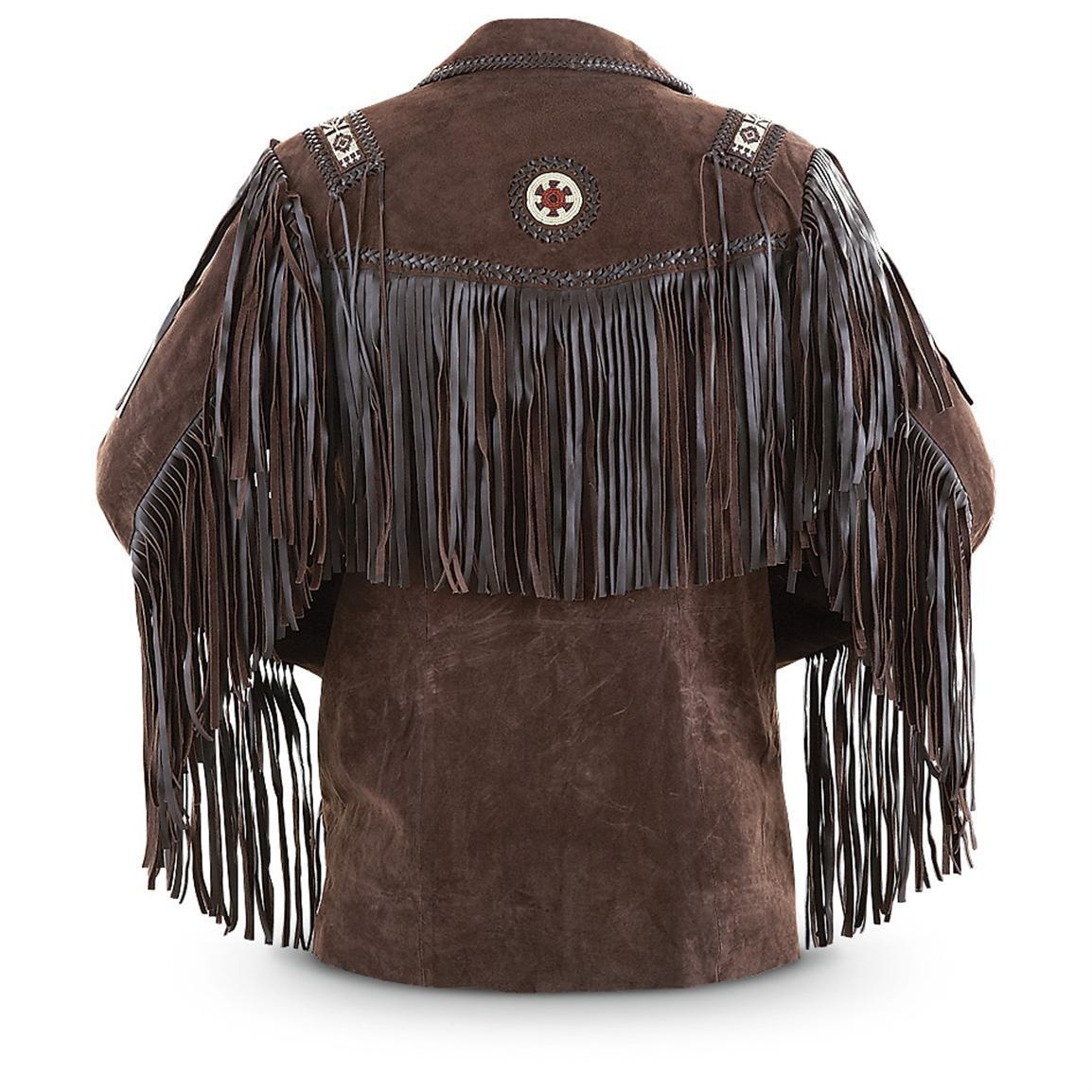 Men's New Beads Fringed Cow suede Leather Jacket Western Wear