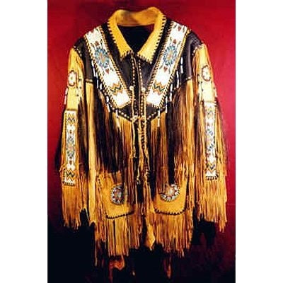 Men's Handmade Native American Red Indian Leather Jacket Fringes beads