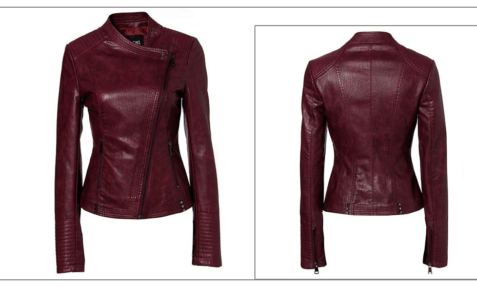Slim Women's Moto Biker Zipper Leather Jacket