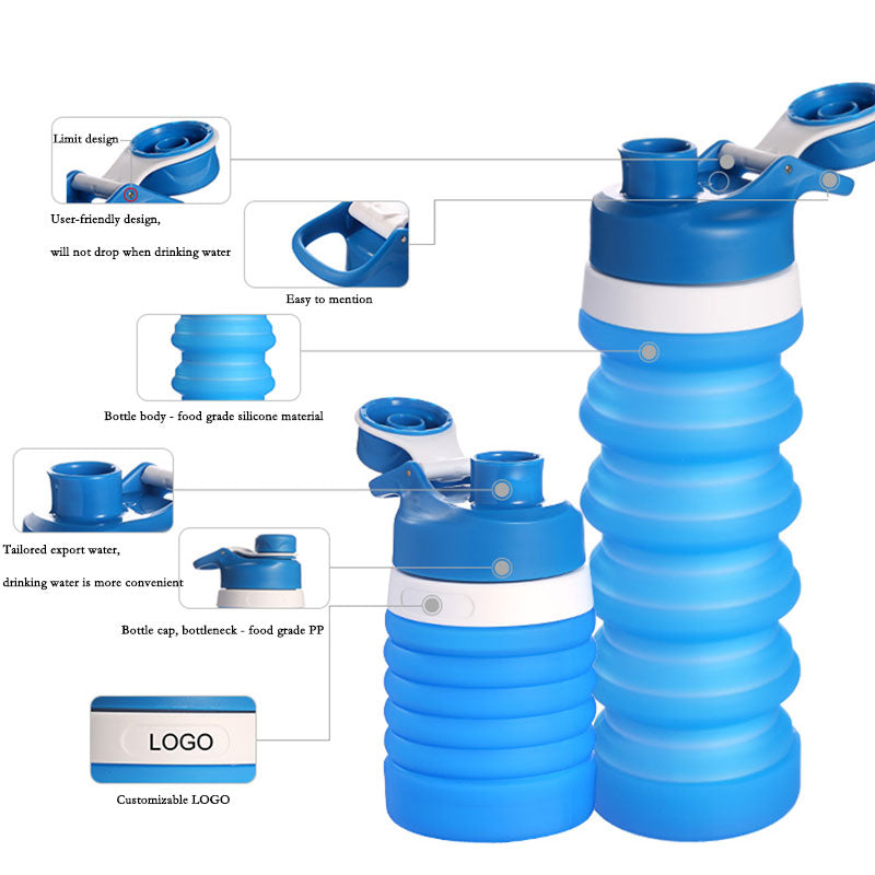 Retractable Foldable Outdoor Travel Silicone Bottles