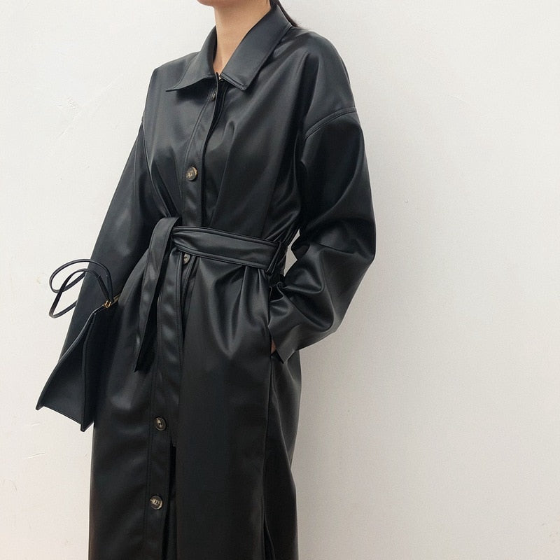 Trench Coat Slim Autumn Leather Jacket