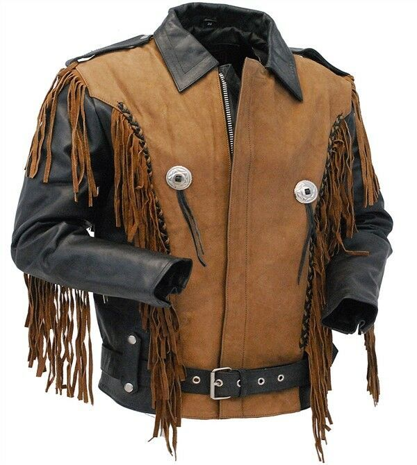 Two Tone Brown Suede Black Cowhide Leather Western Fringed Concho Biker Jacket