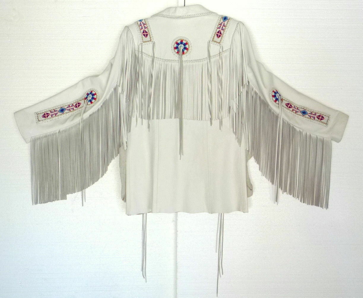 Men's Native American White Cowhide Leather Fringes Jacket with beads