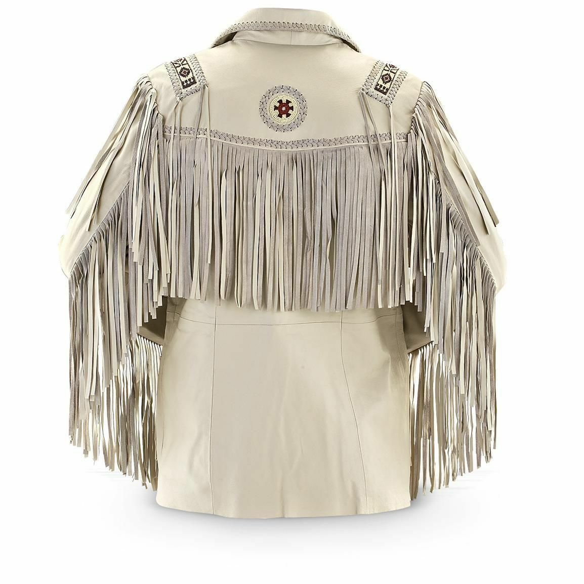 Men's Western Fringed & Beaded Indian Suede Leather Coat