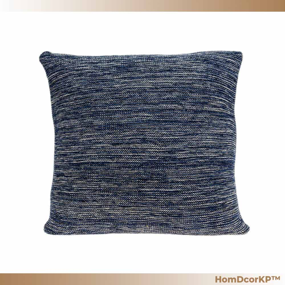 Transitional Blue n Tan cotton pillow cover w/ down insert