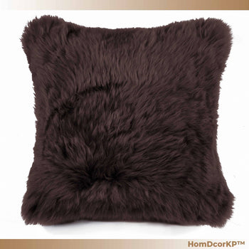 Comfortable Chocolate Sheepskin Home Accent Furniture Pillow