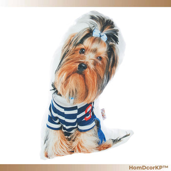 Yorkshire Terrier Dog Shaped Cuddly Companion Throw Pillow