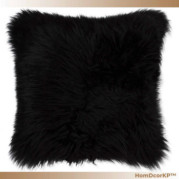 HomDcorKP™ Comfortable Black Sheepskin Fur Home Accent Furniture Pillow