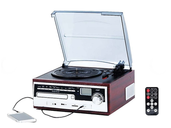 EleGdjtKP™ All in One Turntable Stereo Retro System w/ CD n multi ports