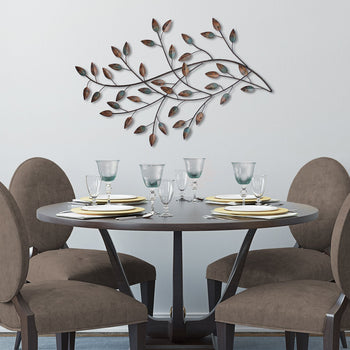 Decorative Blowing Leaves Multi-Clr Metal Wall Hanging Decor