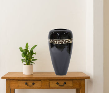 Black Lacquer w/ Brown Coconut Shell Bamboo Spun Floor Vase