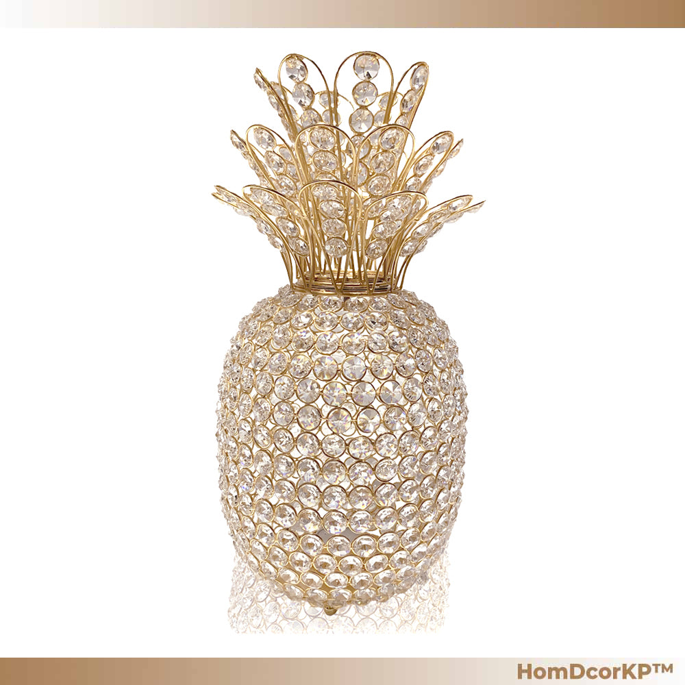Gold Crystal Pineapple Sculpture n Modern Accent Table Decor