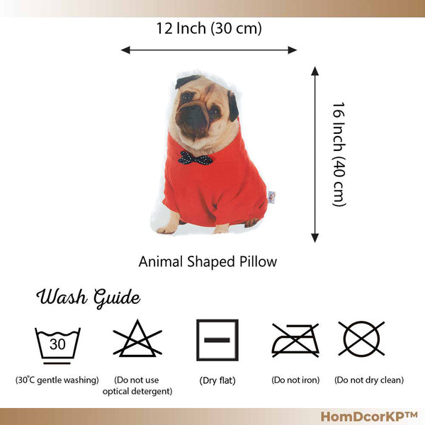 Pug Dog Shape Filled Companion Throw Pillow Fun Travel Buddy