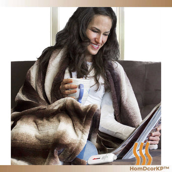 Contemporary Brown n White Heated Throw Blanket for Winter