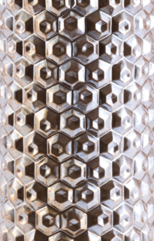 Antique Gold Ceramic Honeycomb Metallic Design Large Vas