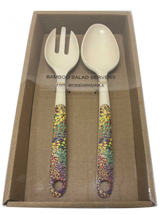 Bamboo Salad Server Janelle Stockman - Multi