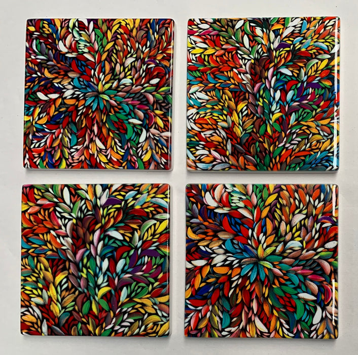 Set of 4 Ceramic Coasters - Louise Numina Multi Colour