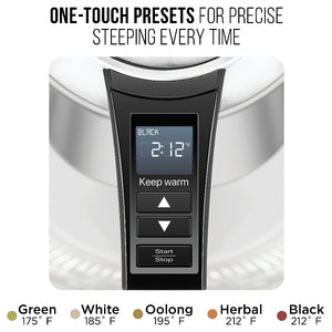 Chefman 1.8 Liter Electric Glass Kettle With Removable Tea Infuser and one-touch presets for precise steeping everytime.