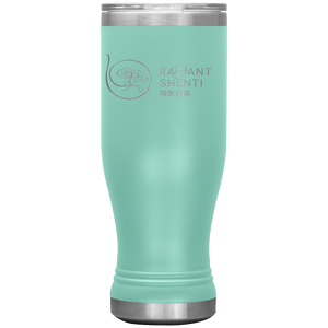 Keep your digestion moving and stay healthy by drinking warm water in Radiant Shenti's Boho 20 oz tumbler. Mint green