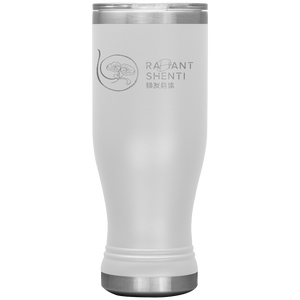 Keep your digestion moving and stay healthy by drinking warm water in Radiant Shenti's Boho 20 oz tumbler. White