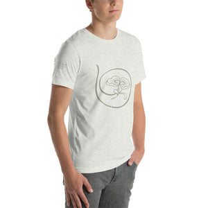 Show the world your commitment to health and happiness with Radiant Shenti's lotus logo t-shirt.  This t-shirt feels soft and lightweight, with the right amount of stretch. It's comfortable and flattering for both men and women. white