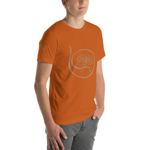 Show the world your commitment to health and happiness with Radiant Shenti's lotus logo t-shirt.  This t-shirt feels soft and lightweight, with the right amount of stretch. It's comfortable and flattering for both men and women. Autumn