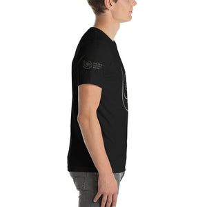 Show the world your commitment to health and happiness with Radiant Shenti's lotus logo t-shirt.  This t-shirt feels soft and lightweight, with the right amount of stretch. It's comfortable and flattering for both men and women. Black logo on sleeve
