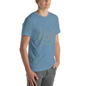 Show the world your commitment to health and happiness with Radiant Shenti's lotus logo t-shirt.  This t-shirt feels soft and lightweight, with the right amount of stretch. It's comfortable and flattering for both men and women. Blue