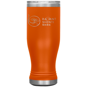 Keep your digestion moving and stay healthy by drinking warm water in Radiant Shenti's Boho 20 oz tumbler. Orange