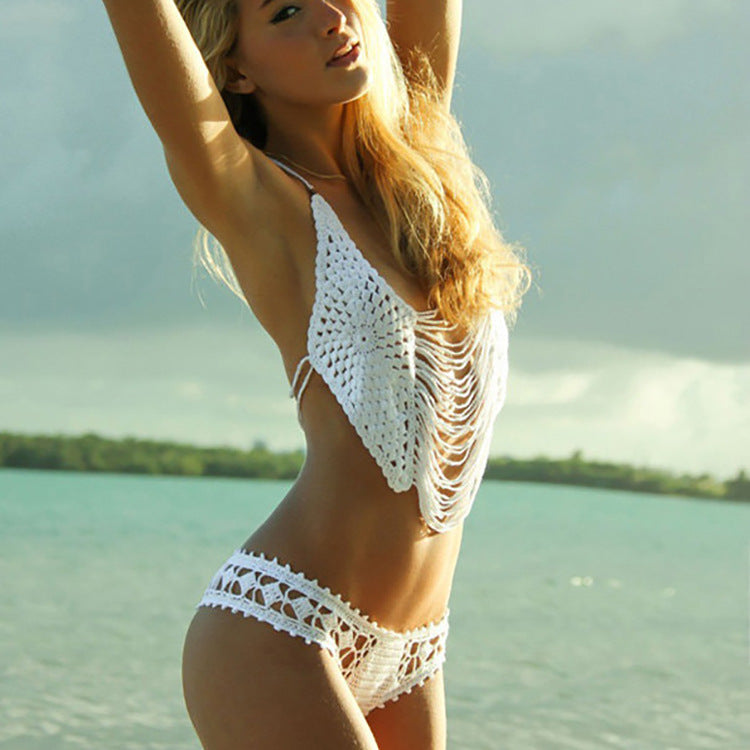 2020 New Handmade Crochet sexy bikini, Europe and America beach woman SWIMSUIT SET