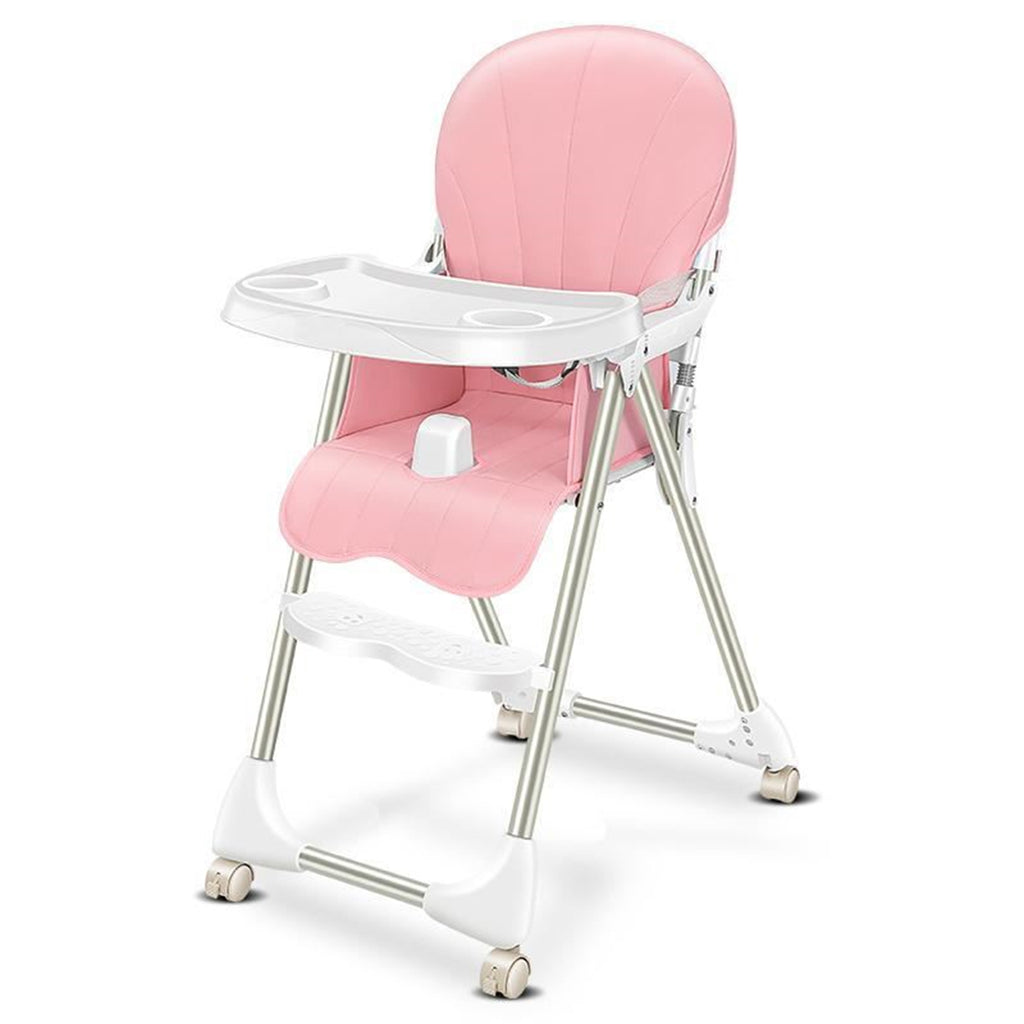 Ditong Portable Folding Baby High Chair Adjustable Plate Lockable Wheels PU Seat with Environmental Protection Material Stable for Kids