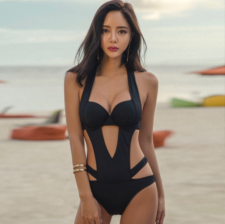 2020 Sexy Black Halter Cut Out Bandage Trikini Swim Bathing Suit Monokini Push Up Brazilian Swimwear Women One Piece Swimsuit