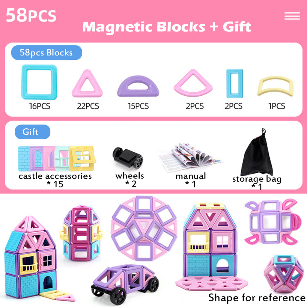 58/68/88 Pcs Magnetic Building Block Set Children Brain Development Toys Safe Non-Toxic Blocks
